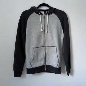GAP Gray Contrast Zip Up Long Sleeve Hooded Jacket